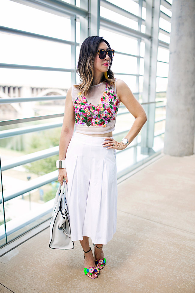 nicole miller tutti frutti crop top, sophia webster lilico heels, how to wear a crop top and culottes
