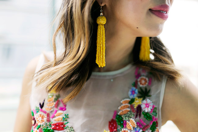 nicole miller tutti frutti crop top, yellow tassel earrings, how to wear a crop top and culottes