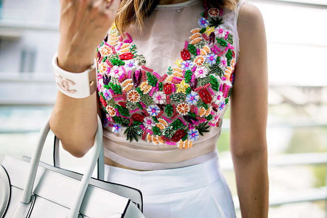 nicole miller tutti frutti crop top, chanel pink and white gingham cuff bracelet, how to wear a crop top and culottes