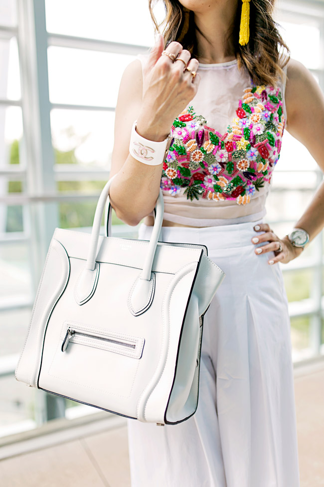 nicole miller tutti frutti crop top, how to wear a crop top and culottes, celine luggage tote