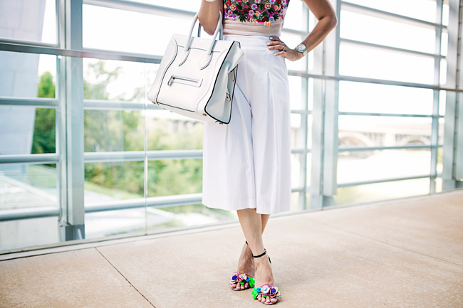 nicole miller tutti frutti crop top, sophia webster lilico heels, how to wear a crop top and culottes, celine luggage tote