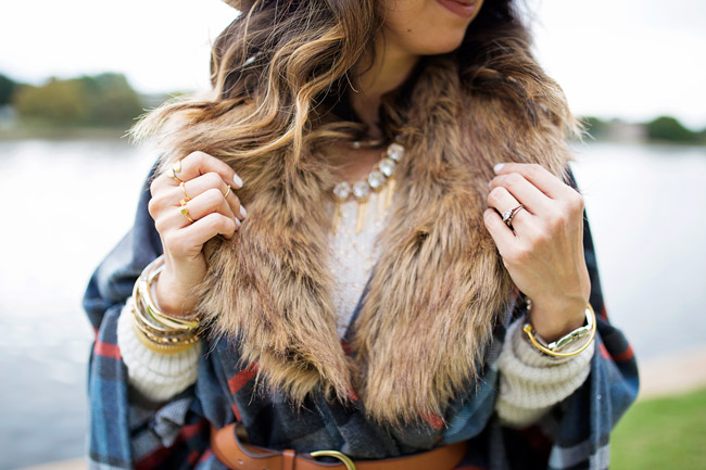 target plaid fur poncho, lob haircut with ombre highlights, how to layer for winter