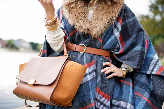 target plaid fur poncho, celine trapeze bag, how to layer for winter chic