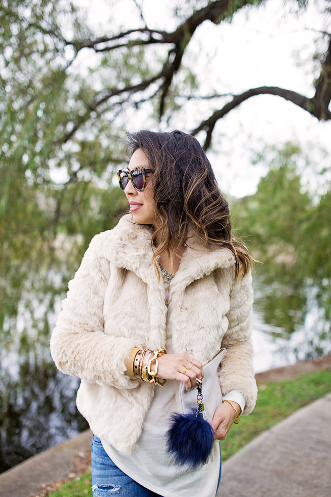 how to wear winter white, target faux fur jacket, gifts for yourself