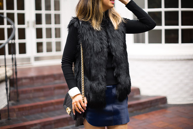 style at any age, how to wear a fur vest, chanel boy bag
