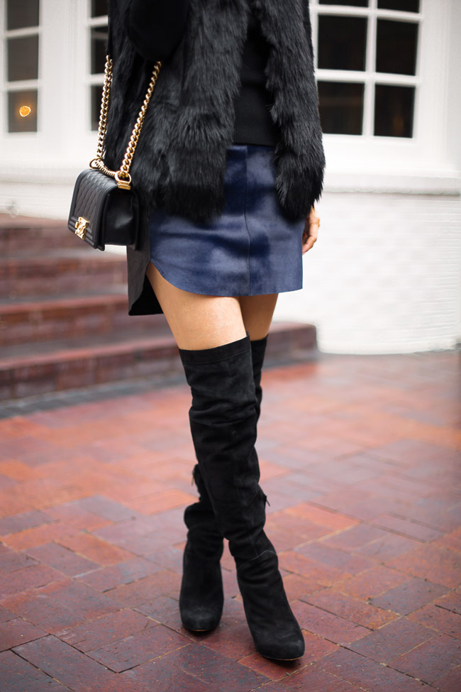 style at any age, how to wear a fur vest, chanel boy bag, sam edelman kayla boots, mason by michelle mason calf hair mini skirt