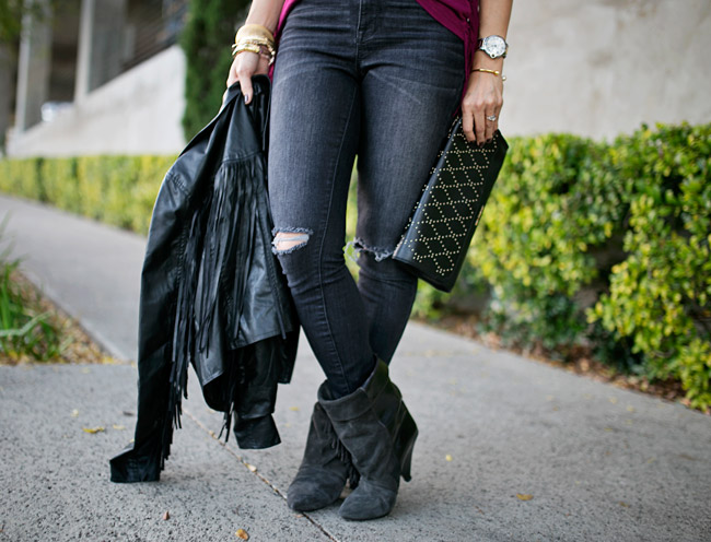 how to wear fringe, how to get dressed fast, dior so real sunglasses dupe, vera bradley studded clutch, isabel marant pour h&m fringe boots