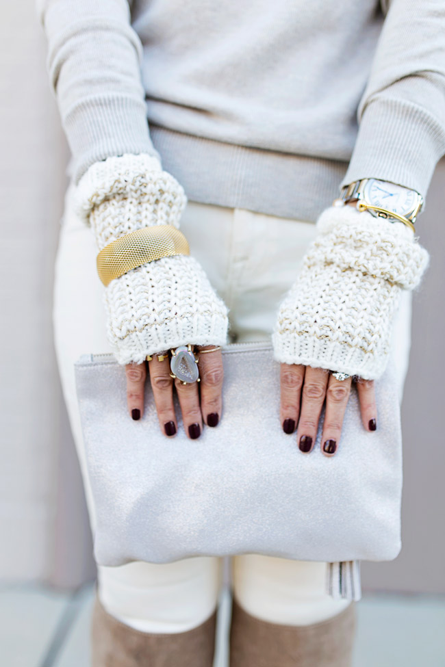 winter neutral outfit, how to wear a faux fur scarf, fingerless gloves, tassel leather pouch, rms beauty diabolique nail polish