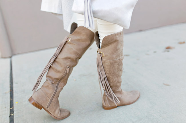 winter neutral outfit, tassel riding boots