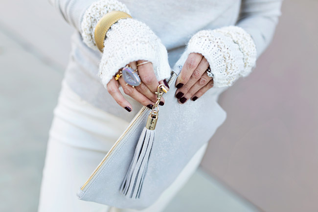 winter neutral outfit, how to wear a faux fur scarf, holiday fingerless gloves, tassel leather pouch, target