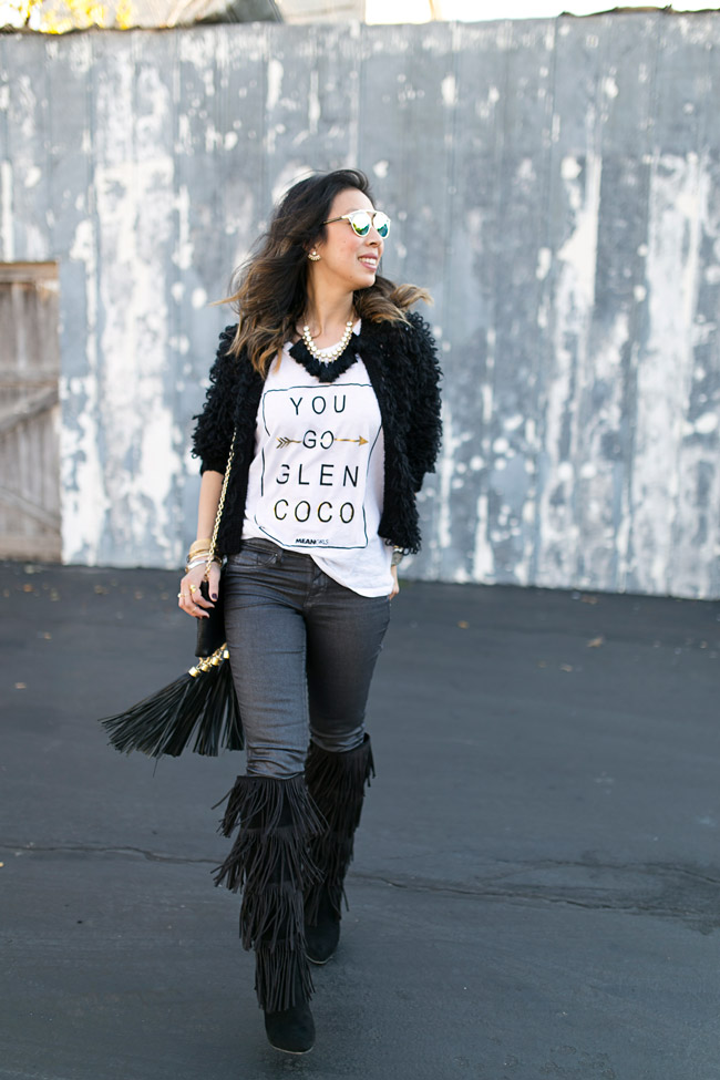 you go glen coco tee, how to wear fringe boots, zac posen tassel clutch, how to style a graphic tee