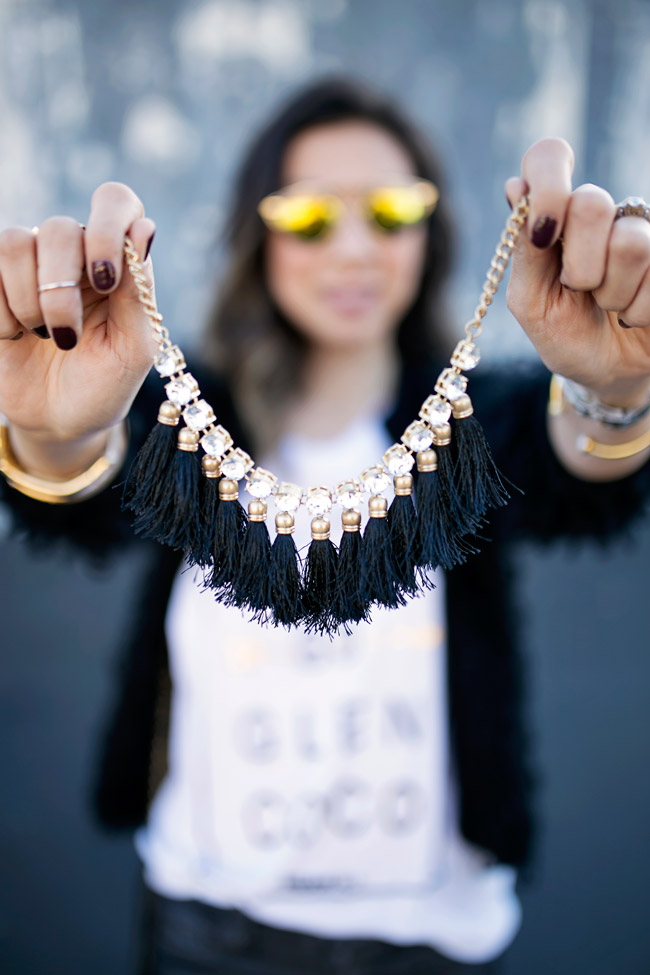 rhinestone fringe necklace, target style, how to style a graphic tee