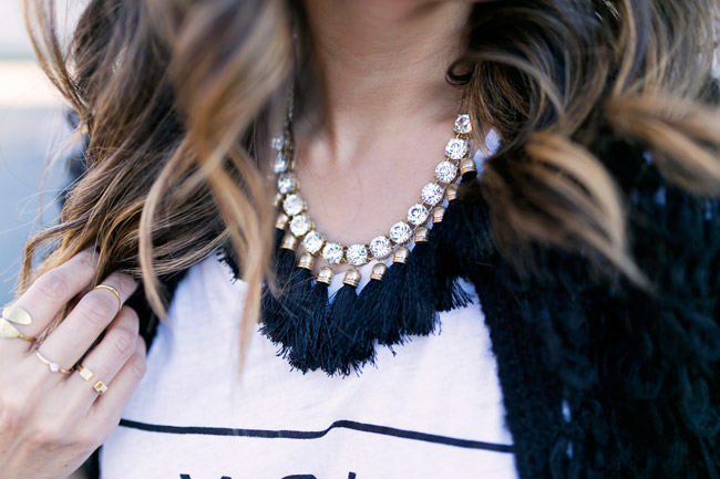 rhinestone fringe necklace, how to style a graphic tee