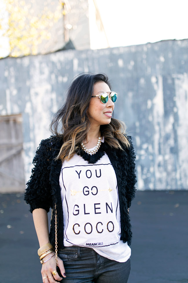you go glen coco tee, zac posen tassel clutch, how to style a graphic tee