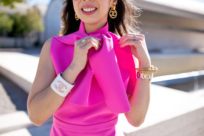 msgm bow collar pink crepe dress, vintage chanel earrings and pink and white gingharm cuff, ladylike style in pink dress