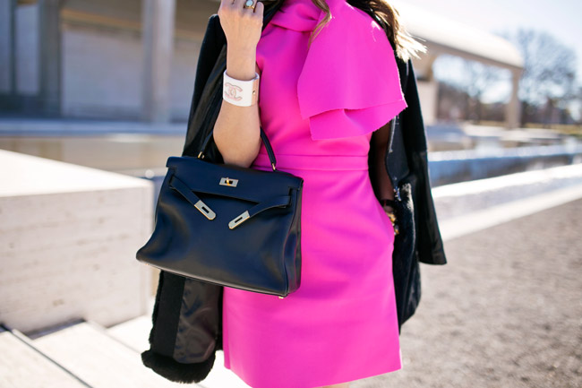 msgm bow collar pink crepe dress, hermes kelly bag, vintage chanel earrings, ladylike style in pink dress