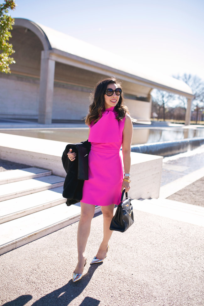 msgm bow collar pink crepe dress, hermes kelly bag, jcrew d'orsay gold heels, vintage chanel earrings, ladylike style in pink dress