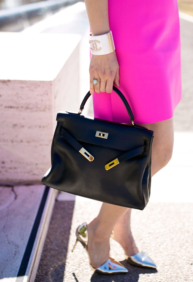 msgm bow collar pink crepe dress, hermes kelly bag, jcrew d'orsay gold heels, chanel logo gingham cuff, ladylike style in pink dress