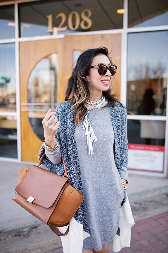 target sweatshirt dress, color block sweater, how to wear a belt as a necklace, celine trapeze bag