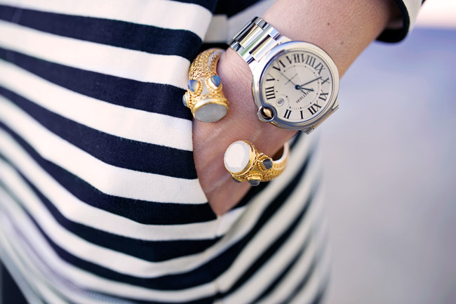 target striped tunic, cartier ballon blue, julie vos byzantine cuff