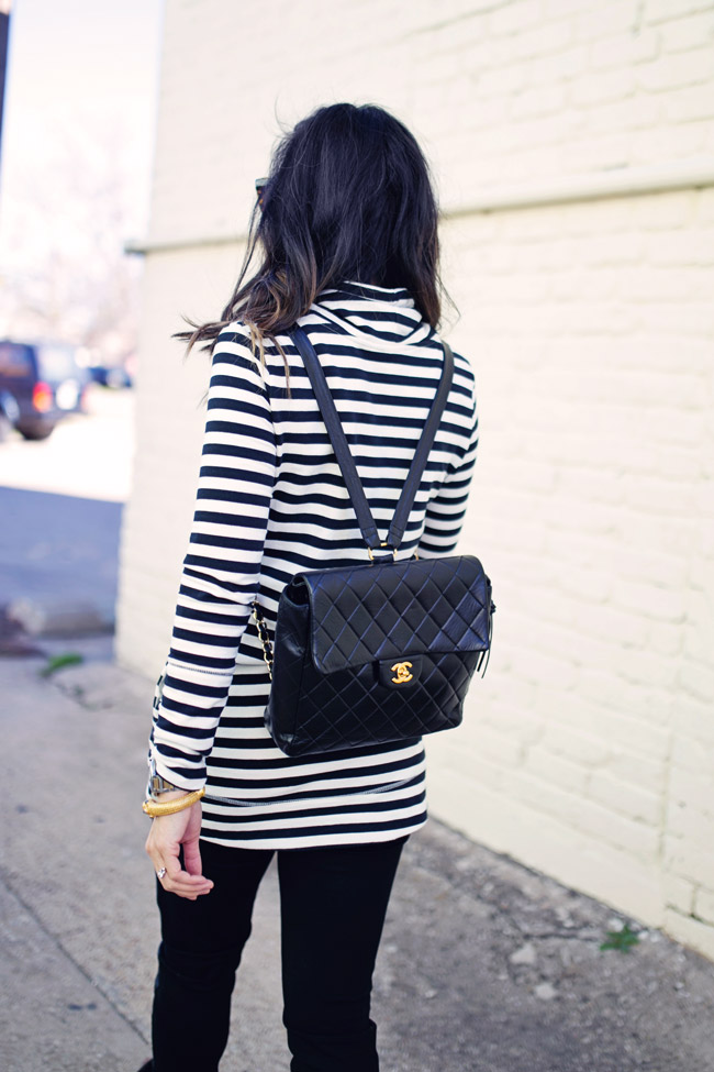 target striped tunic, leather leggings, chanel backpack, isabel marant pour H&M fringe boots