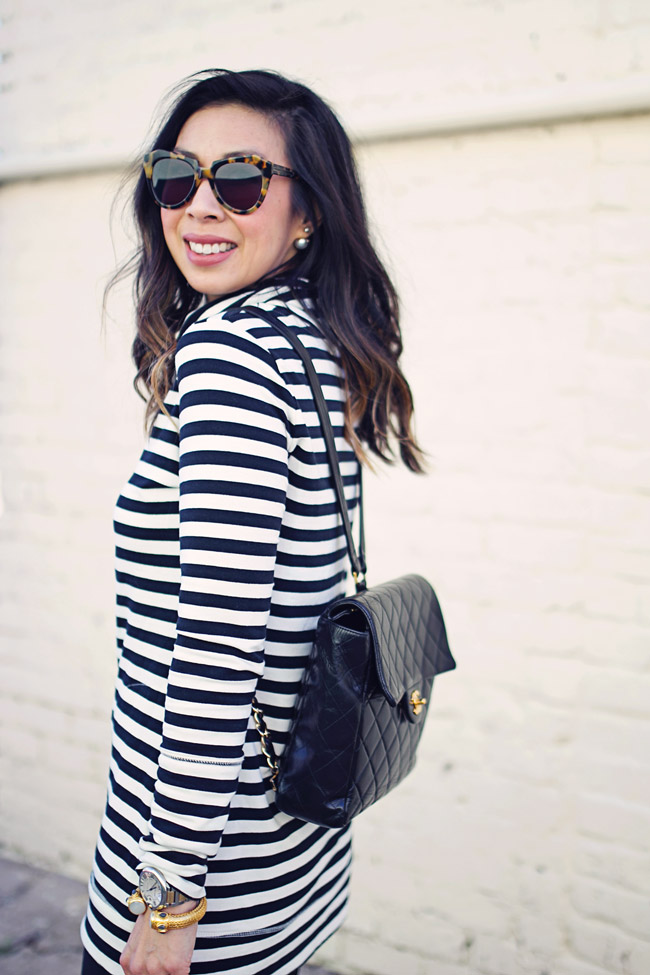 target striped tunic, leather leggings, chanel backpack