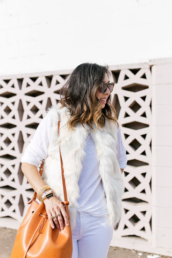white faux fur vest, mansur gavriel bucket bag, how to wear winter white and tan