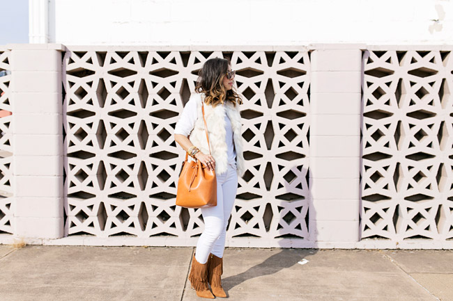 white faux fur vest, sam edelman belinda boots, mansur gavriel bucket bag, how to wear winter white and tan