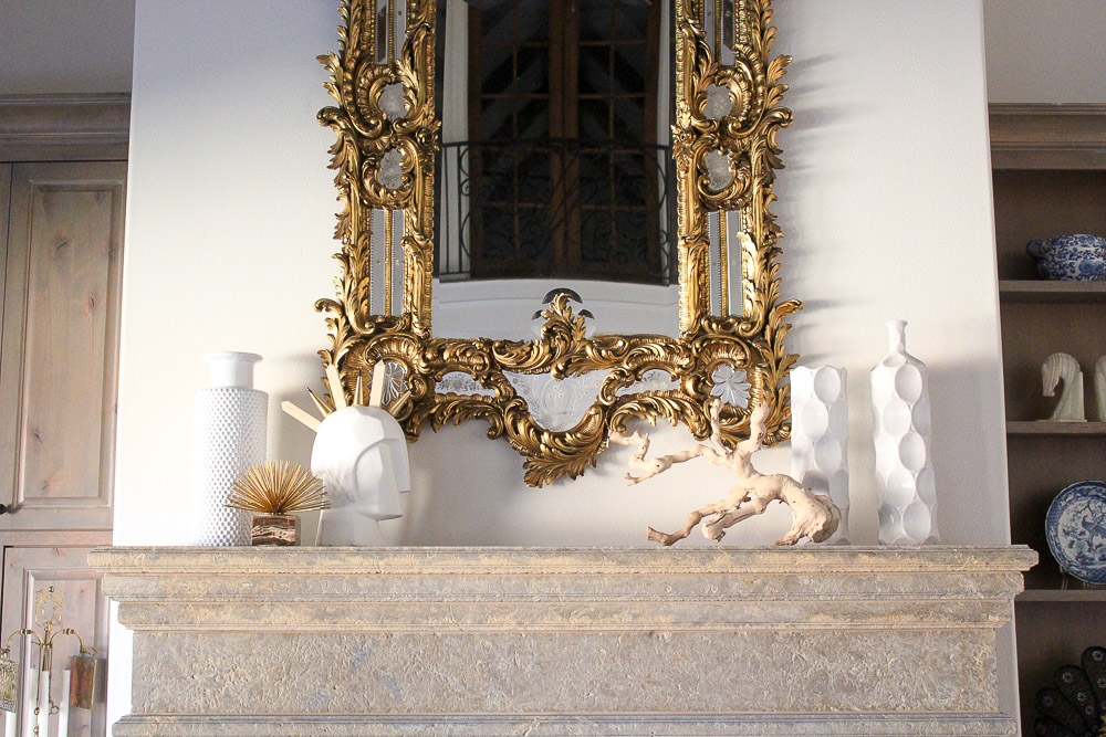 modern glam zen living room, baroque venetian mirror, mantle ideas, gold accents