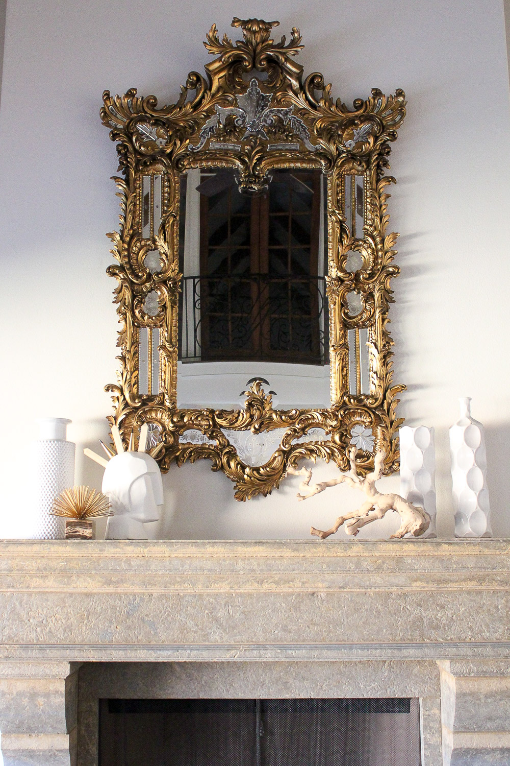modern glam zen living room, baroque venetian mirror, vintage and modern mantle inspo