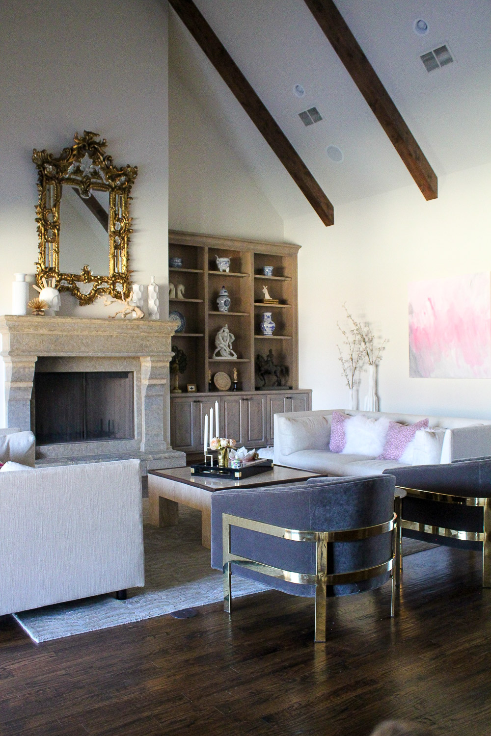 modern glam zen living room, baroque venetian mirror, MGBW franco sofa and avery chair, gold accents