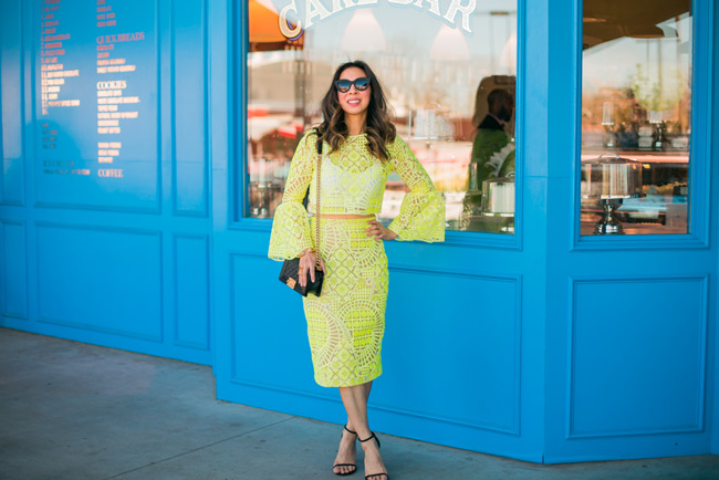 alexis yellow lace aurora crop top, stuart weitzman nudist heel, chanel boy bag, quay kitty sunglasses, spring trends 2016