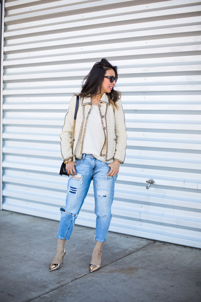 how to wear a chanel jacket with boyfriend jeans, jcrew gold d'orsay heels, chanel boy bag