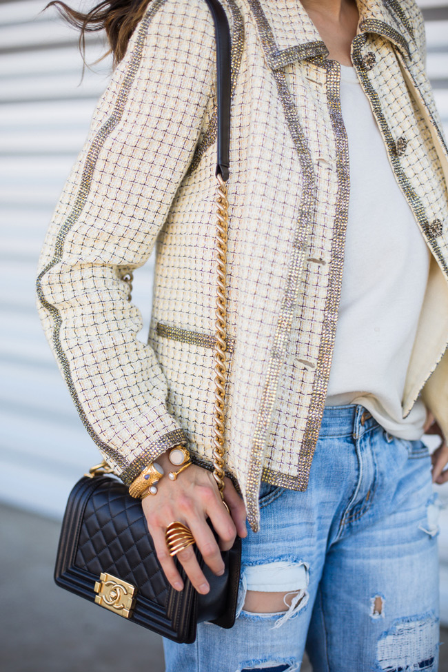 how to wear a chanel jacket with boyfriend jeans, julie vos baroque cuff, vita fede futuro ring, chanel boy bag