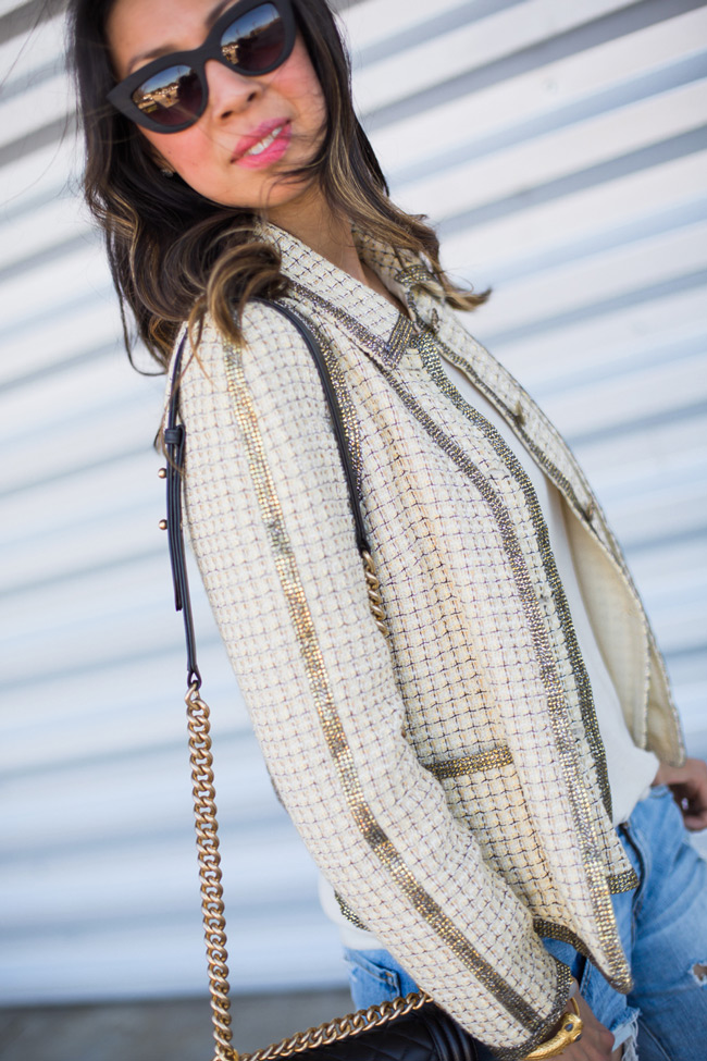 how to wear a chanel jacket with boyfriend jeans, quay kitty sunglasses