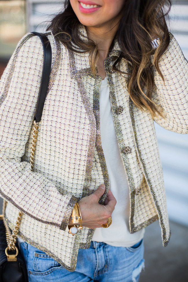 how to wear a chanel jacket with boyfriend jeans, julie vos baroque cuff, chanel boy bag