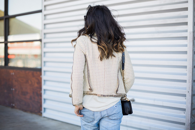 how to wear a chanel jacket with boyfriend jeans, ombre lob, chanel boy bag