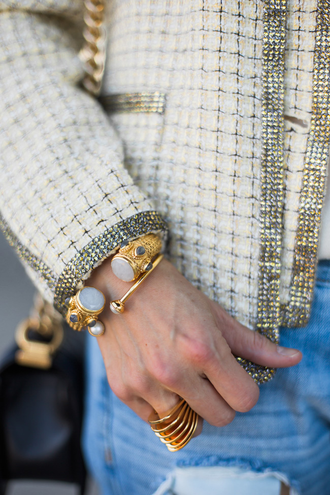 how to wear a chanel jacket with boyfriend jeans, julie vos baroque cuff and gigi bangle, vita fede futuro ring
