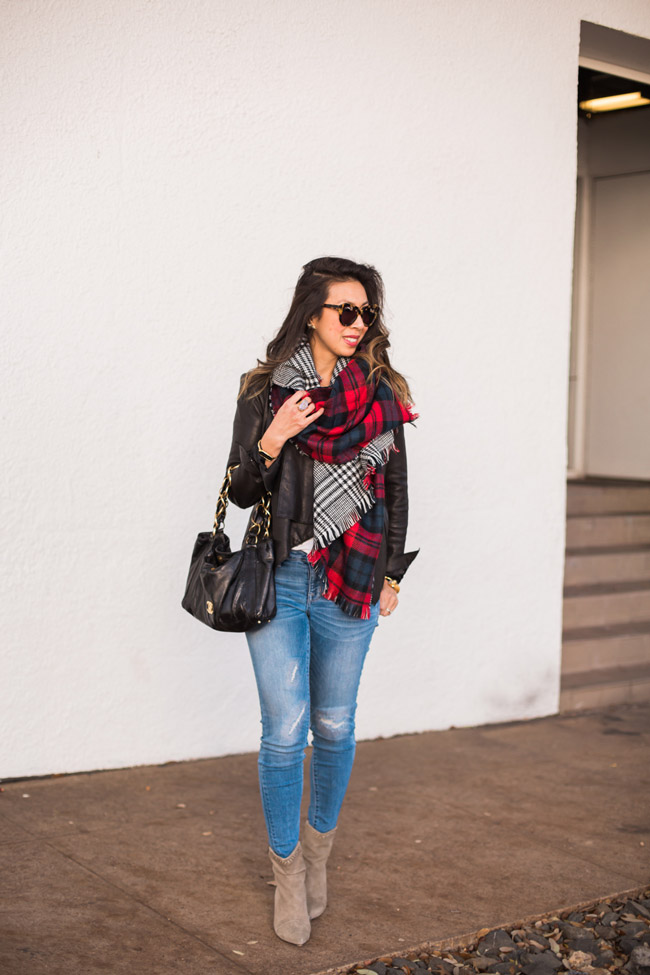 how to wear a blanket scarf, chic at every age, chanel olsen bag, target jeggings, isabel marant lance booties, helmut lang draped leather jacket