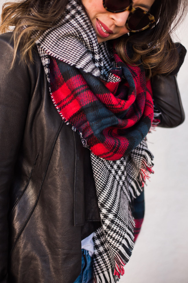 how to wear a blanket scarf, chic at every age,  helmut lang draped leather jacket