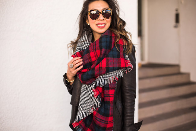 how to wear a blanket scarf, chic at every age, kelly wearstler tamarindo ring, helmut lang draped leather jacket