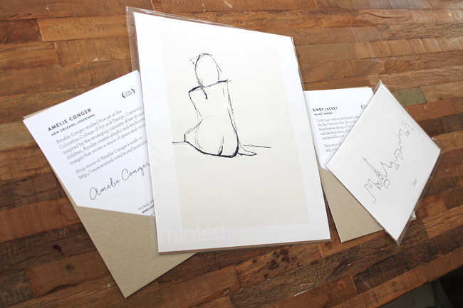 minted artist prints with author card