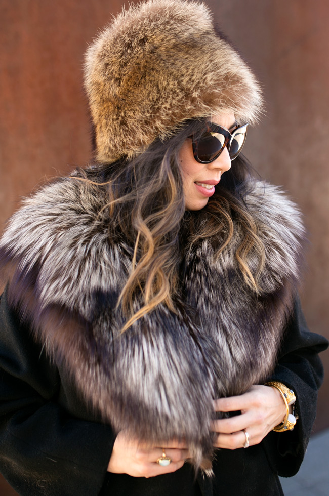 from grandma with love, vintage fur hat, fur trim coat, how to wear vintage