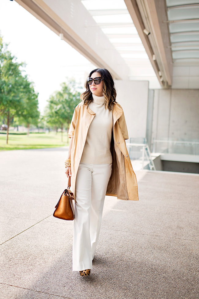 miu miu tan long leather jacket, cream turtleneck and pant, how to wear a long leather jacket