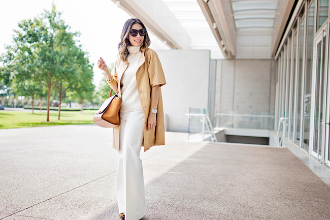miu miu tan long leather jacket, cream turtleneck and pant, how to wear a long leather jacket, celine trapeze bag