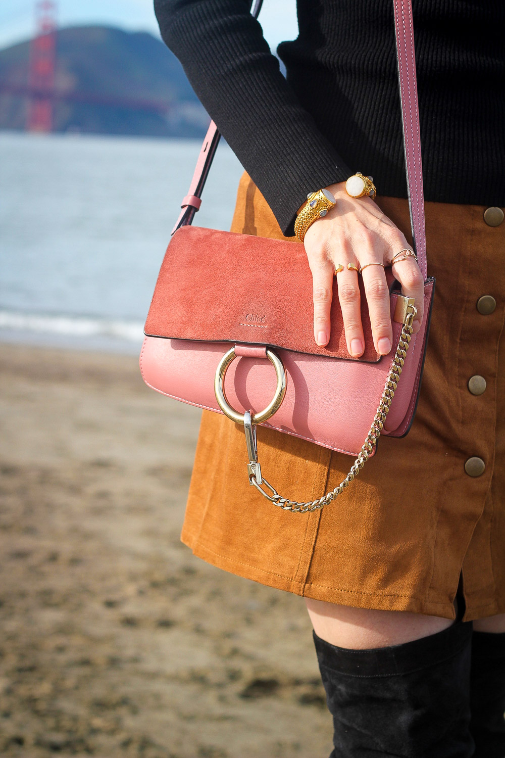 faux suede button front skirt, OTK boots, chloe faye pink bag, san francisco bridge, crissy field