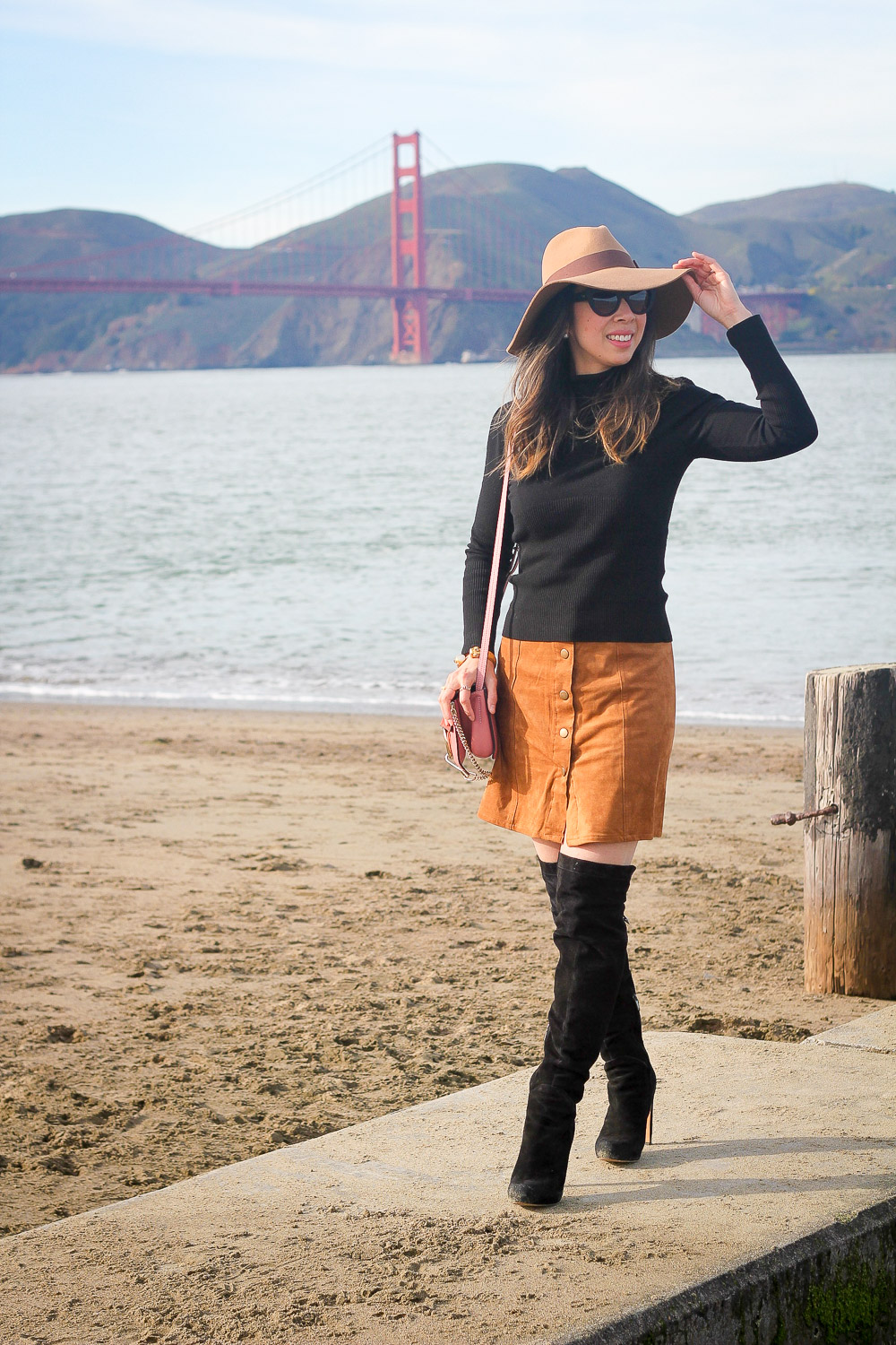 faux suede button front skirt, OTK boots, Brixton hat, chloe faye pink bag, san francisco bridge, crissy field