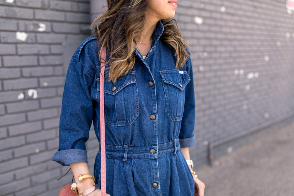 how to wear a denim jumpsuit, rose pink chloe faye bag