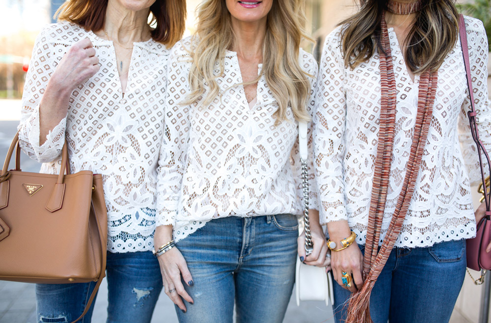 chic at every age, style at any age, how to wear a lace top, forty something blogger
