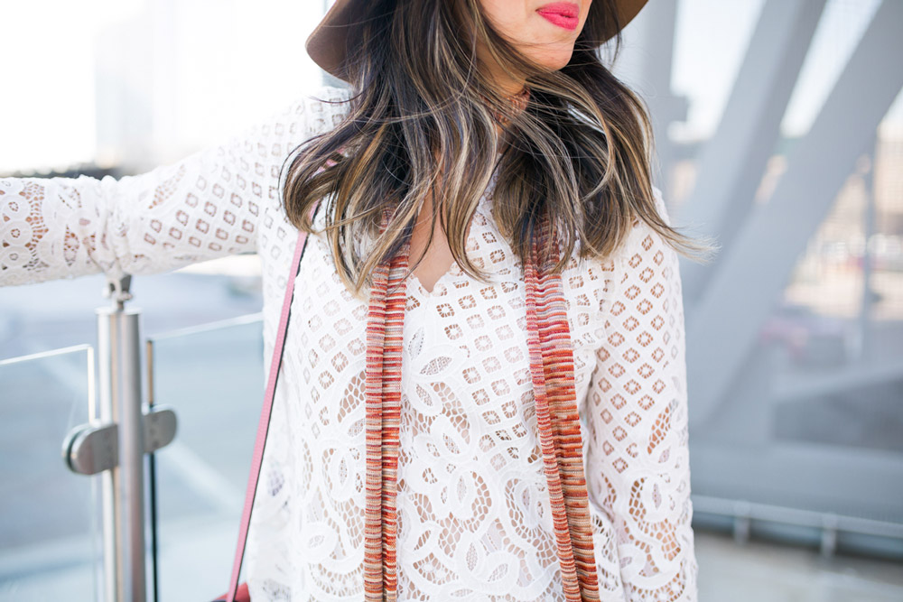 chic at every age, style at any age, how to wear a lace top, brixton hat, skinny scarf, chloe faye bag